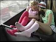 Lesbian foot worshiping on the bus