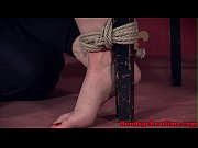 Tied submissive punished with toy and spanked