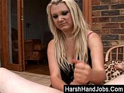 carmen gives a harsh handjob