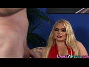 cfnm blonde looks at cock