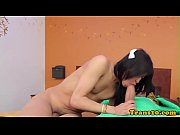 stockinged latina tgirl fucked while tugging