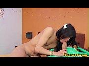 Stockinged latina tgirl fucked while tugging