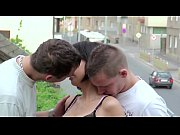 Cute petite teen girl public gangbang threesome on a train bridge
