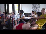 Slave in red dress disgraced in bar Thumbnail