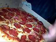 massive cumshot on young wifes pizza has friend eat some too!