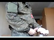 A soldier cums twice playing with a sex toy