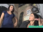 raven twins giving head at gloryhole