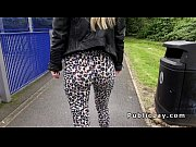 English blonde in leggings bangs outdoor