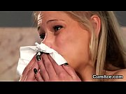 kinky beauty gets sperm shot on her face.