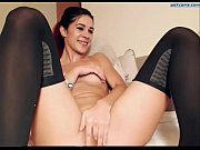 gorgeous beauty in black stockings shows pussy and.