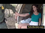 Pale hottie with round butt gets fucked in border patrol truck