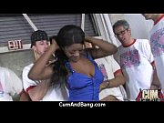 Black chick deepthroats a group of white studs and gets rewarded with cum 6