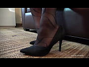 nishay black pantyhose shoeplay and foot.
