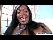 Ebony shemale cums after masturbating