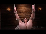 Hogtied brunette in various bondages
