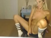 blonde fingering and dildo cumshow part.