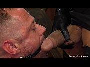 Tranny in corset anal fucks male slave