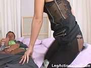 Hot chick gets turned on doing a footjob and gets an extreme anal stretch Thumbnail