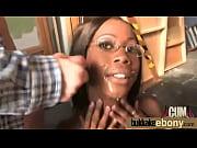 Sexy ebony babe goes crazy sucking and riding several white dicks 22