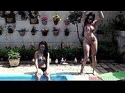 gatas l&eacute_sbicas ficam nuas na piscina