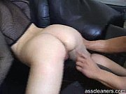 Blonde'_s ass hole is cleaned using slave'_s tongue