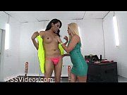 Tranny and blonde sucking machines
