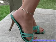 daisy models her green heels ankle bracelet and.