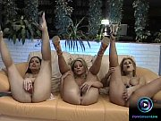 Hotties Camille, Eve Angel and Dorothy Black masturbating at the same time