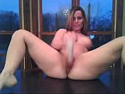 Shaved Pussy Masturbating On The Kitchen Table