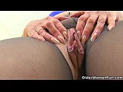 english gilf pandora fucks her pantyhosed pussy with.