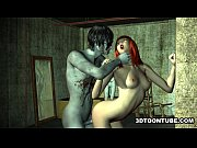 3D cartoon babe having some rough sex with a zombie