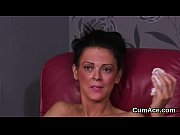 wacky stunner gets cumshot on her face gulping.