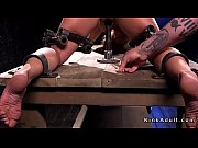 Feet and pussy torment for blonde slave