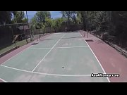 Busty teen pays for tennis lessons