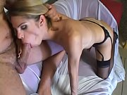 Young blonde Latina tranny takes a cock in her ass and jizz on her tits