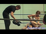 European lesbians wrestling in a boxing ring