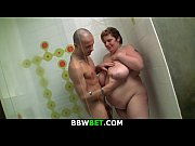 Skinny guy screws big boobs BBW in the shower