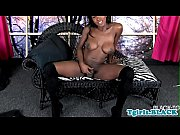 Wanking busty tranny strokes her black cock