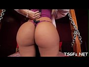 Hard gangbang for juicy tranny