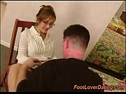 Licking MILF pantyhose and cum on feet