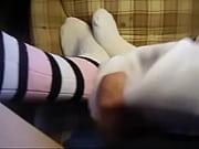 cum on striped long socks
