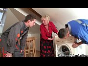 two repairmen bang busty grandma from.