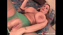 Busty milf babe gets horny and plays with her d...