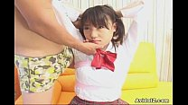 Horny Japanese teen in school uniform sucks coc...
