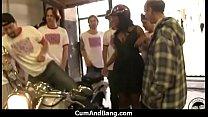 Ebony slut in an amazing gangbang 15
