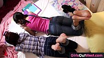 Hairy lesbian cuties fuck during lesson of French Thumbnail