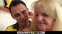 Busty hairy-pussy granny