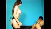 Brunette domme with nice tits uses a strap on h...