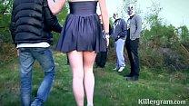 Submissive slut girlfriend in public gangbang Thumbnail