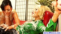 Hot bukkake lesbians at the gloryhole getting f...